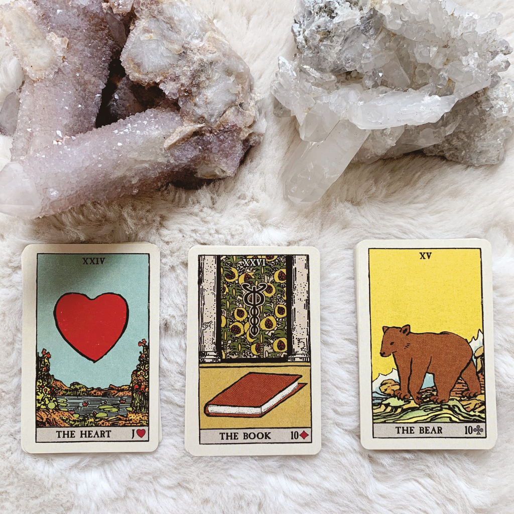 Lenormand Book Combinations - Heart, Book and Bear
