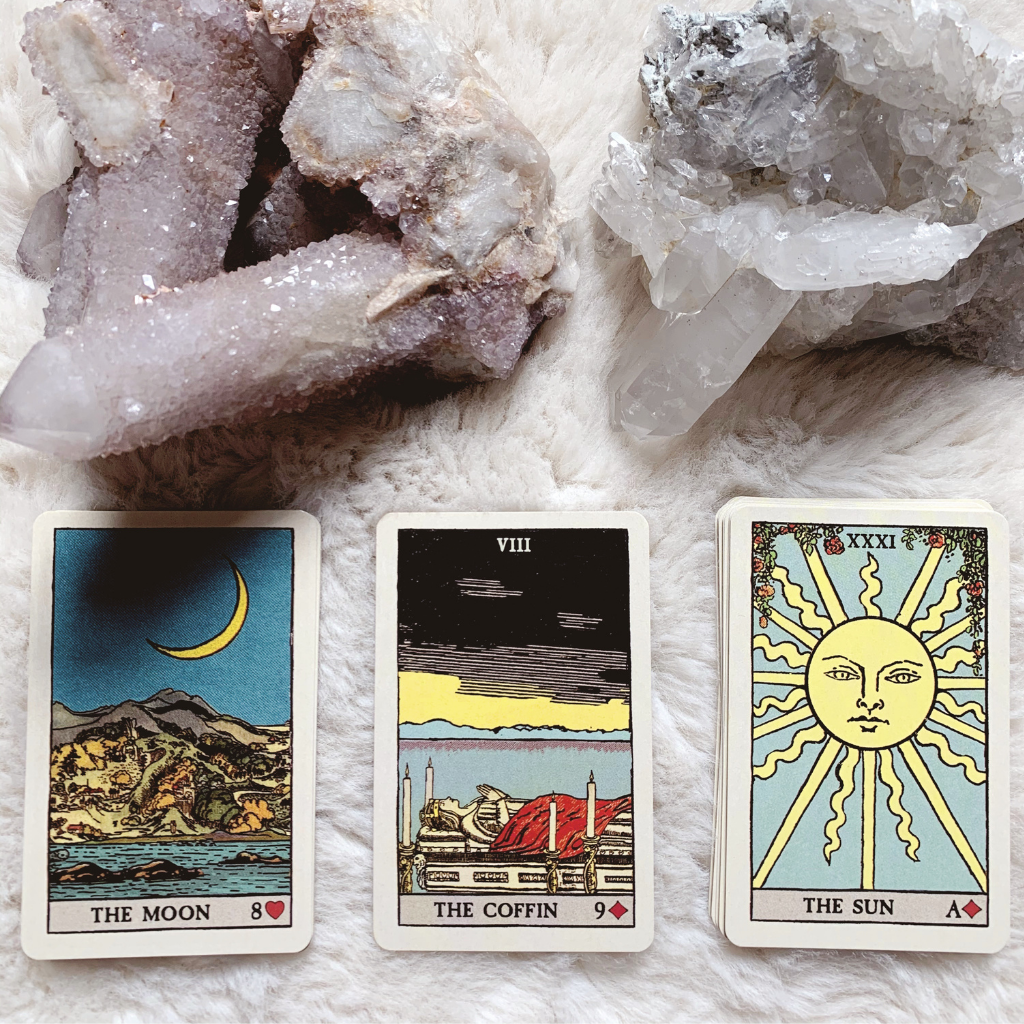 Lenormand Coffin Combinations - Moon, Coffin, Sun