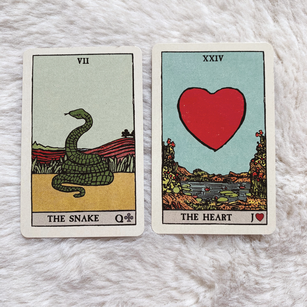 Lenormand Snake Combinations - Snake and Heart