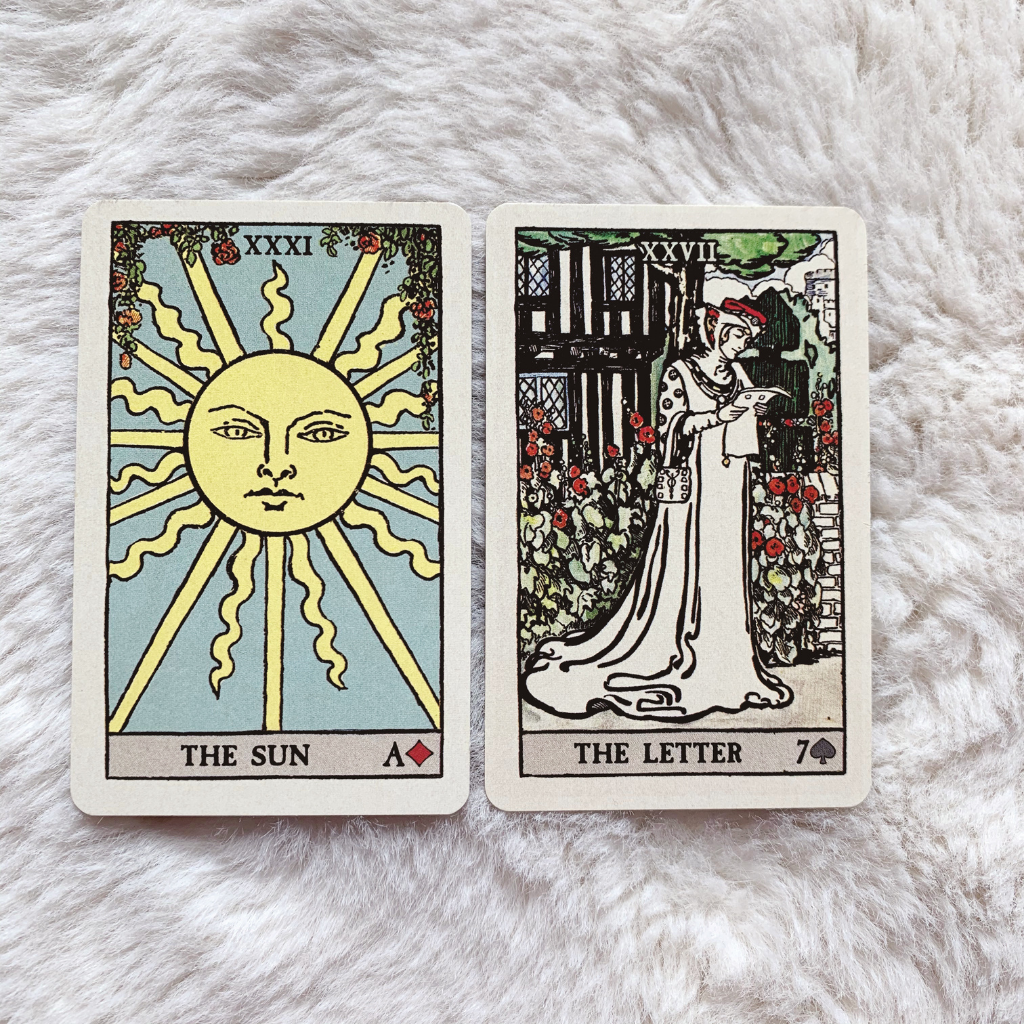 Lenormand Sun Combinations - Sun and Letter