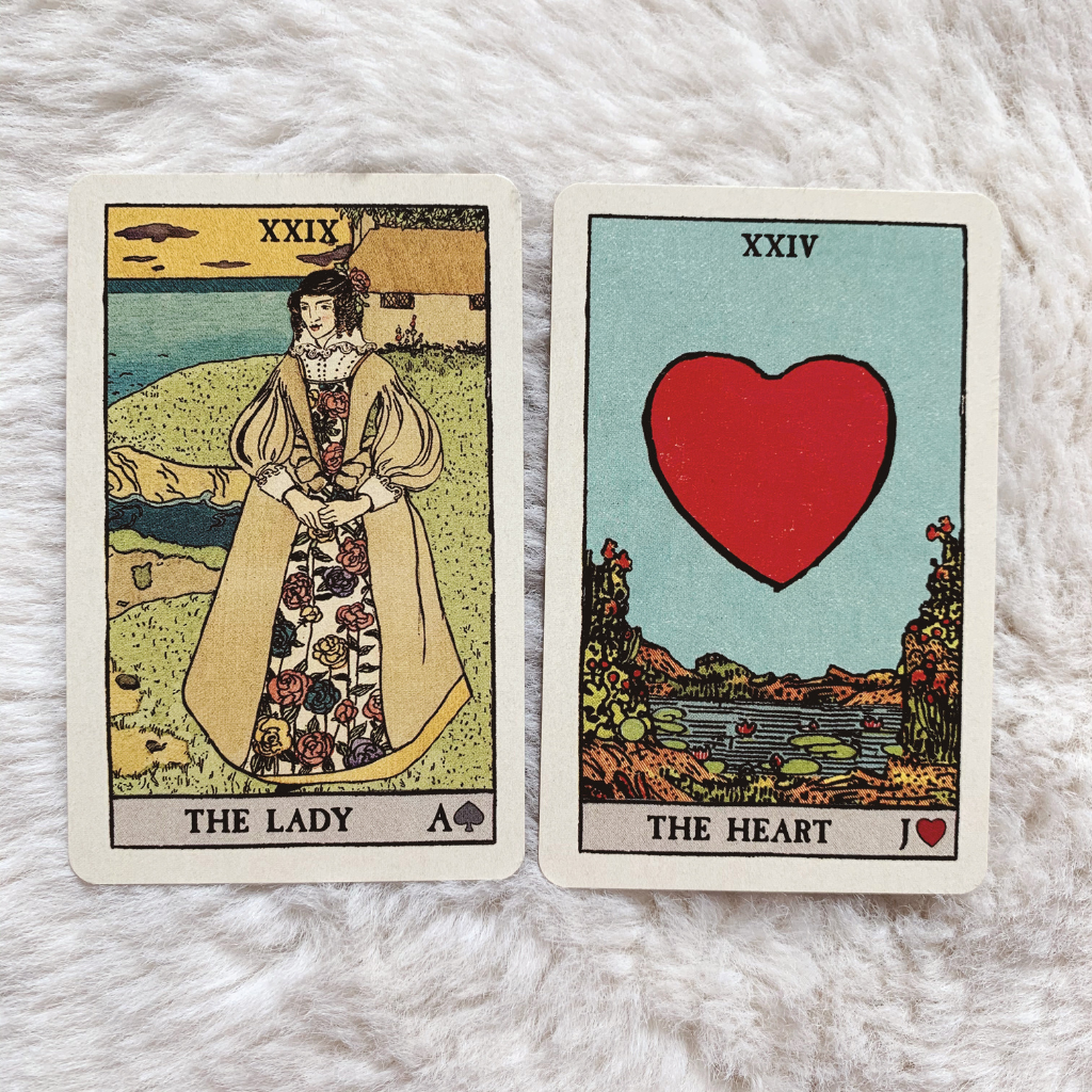 Lenormand Woman Combinations - Woman and Heart