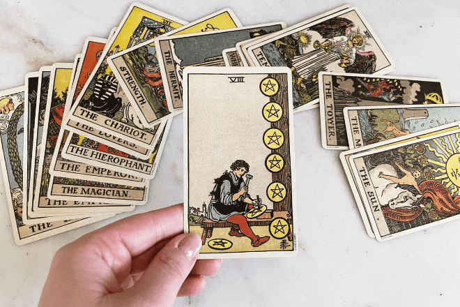 8 Eight of Pentacles Tarot Meanings: Love, Outcomes, Feelings & More!