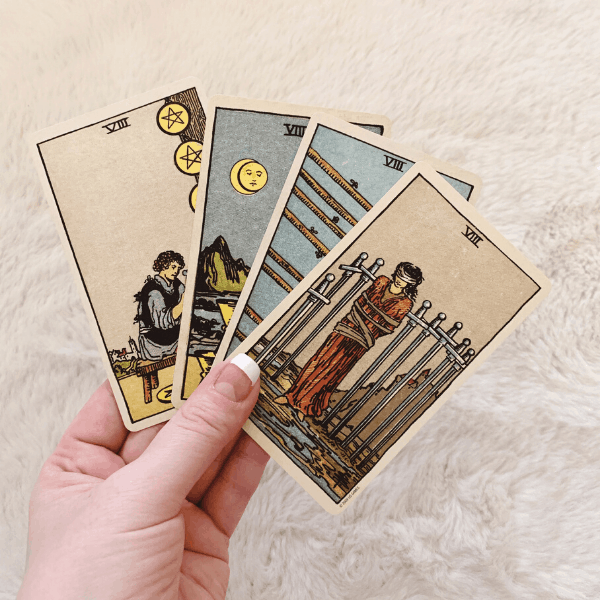 Four Eights, Three Eights, Two Eights in a Tarot reading