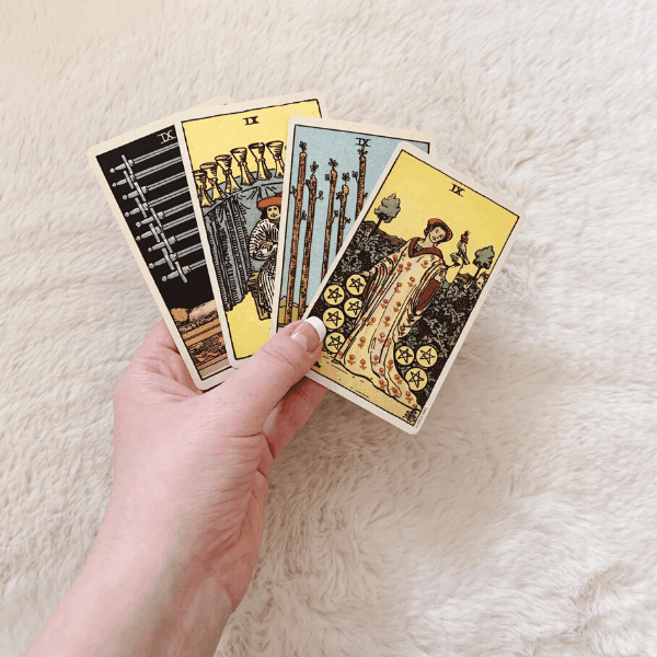 Four Nines, Three Nines, Two Nines in a Tarot reading