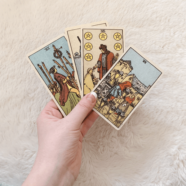 Four Sixes, Three Sixes, Two Sixes in a Tarot reading