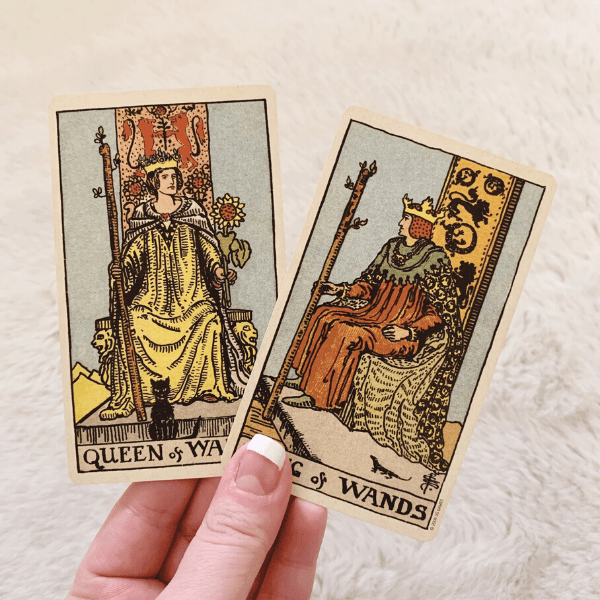 The King and Queen of Wands in a love Tarot reading combination