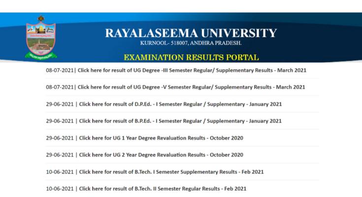 Rayalaseem University Results - todaypassion