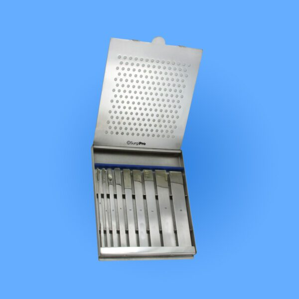 Surgical Set Of 9 Swiss Osteotomes In Sterilizer Case