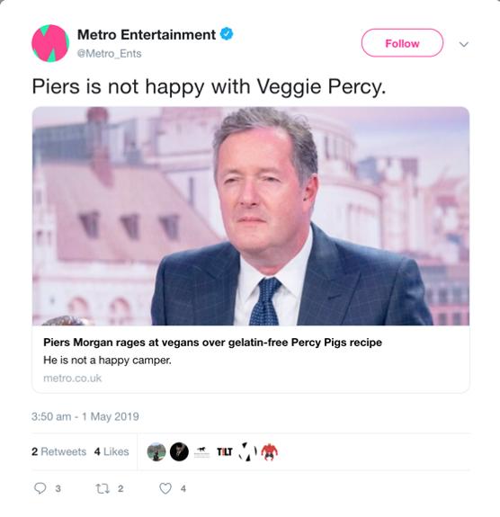 Social listening- Piers Twitter post