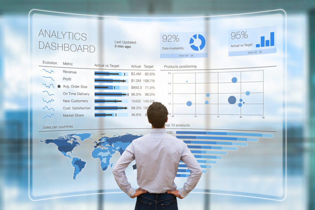 Businessman analyzing business analytics or intelligence dashboard, VR screen, KPI