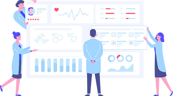Animated image- people looking at dashboard