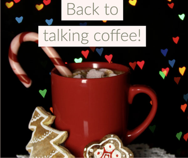 Christmas themed hot chocolate with sprinkles and heart filter with text