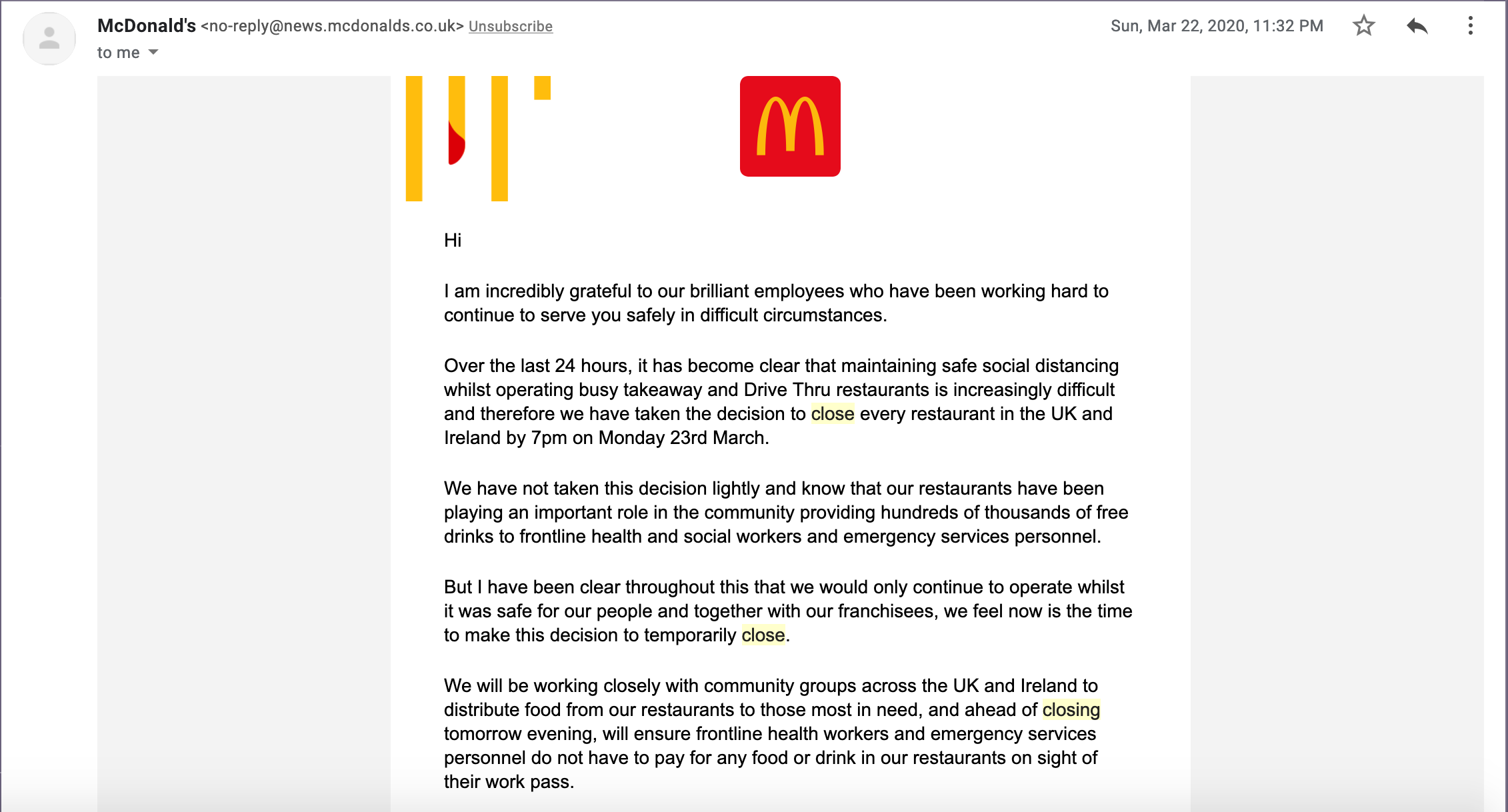 Screenshot from McDonald's email during COVID