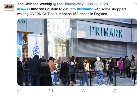 Screenshot of a tweet from twitter with a picture of people queuing outside Primark
