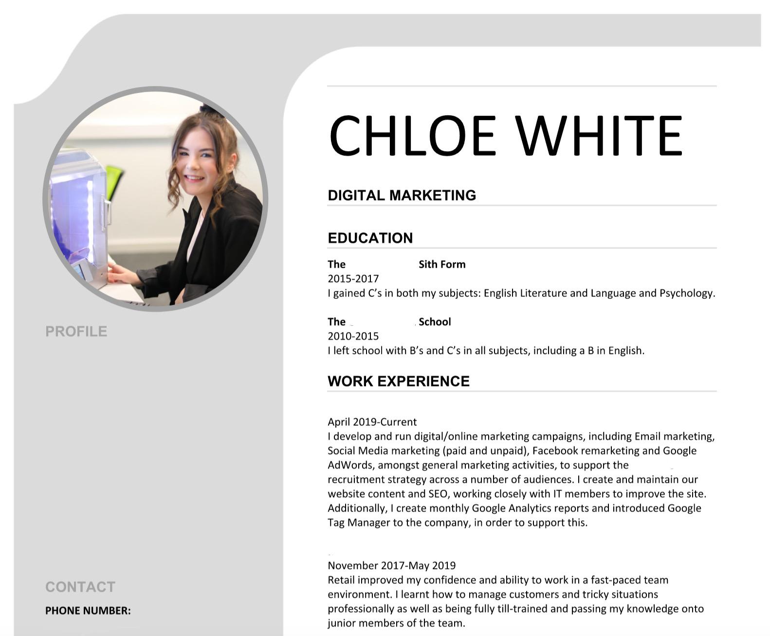 Screenshot of Chloe's Digital Marketing CV