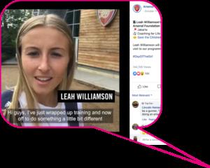 Screenshot of Leah Williamson's Instagram Takeover