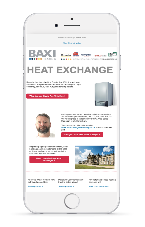 Baxi test email screenshot A inside iPhone