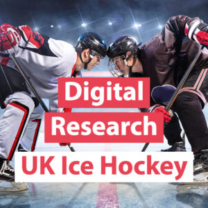 2 Ice Hockey players face to face with words Digital Research UK Ice Hockey text