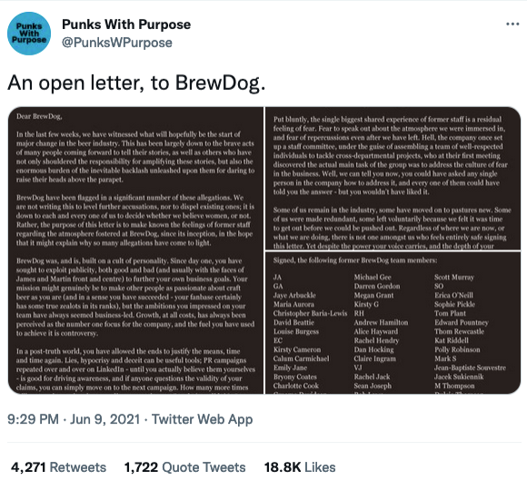 If you click on the image, it will take you to the tweet and be able to read the letter in full. In brief the letter outlines the problems in how the organisation treated their staff poorly and disregarding their claim to save the planet signed off by ex-BrewDog employees.