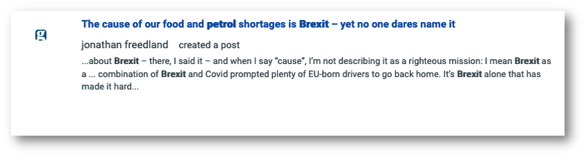Guardian article on the fuel shortage