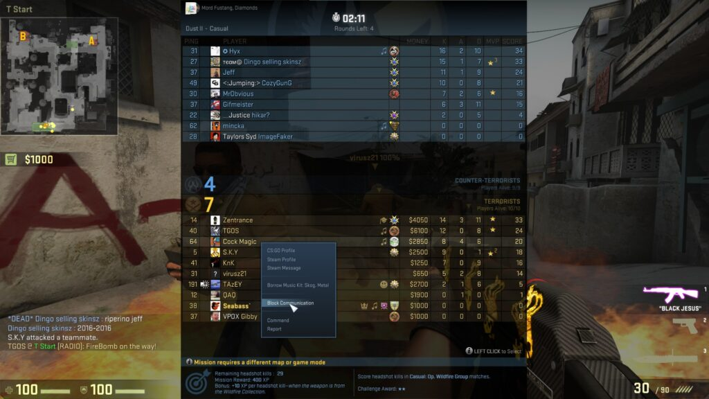 muting players in csgo