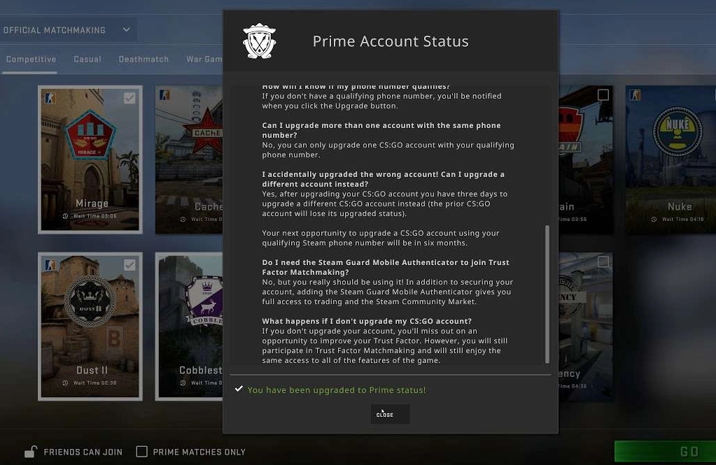 csgo prime account notification