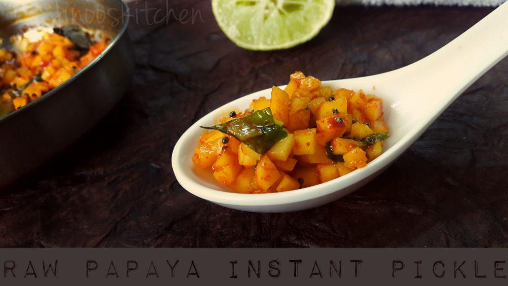 Raw papaya instant pickle