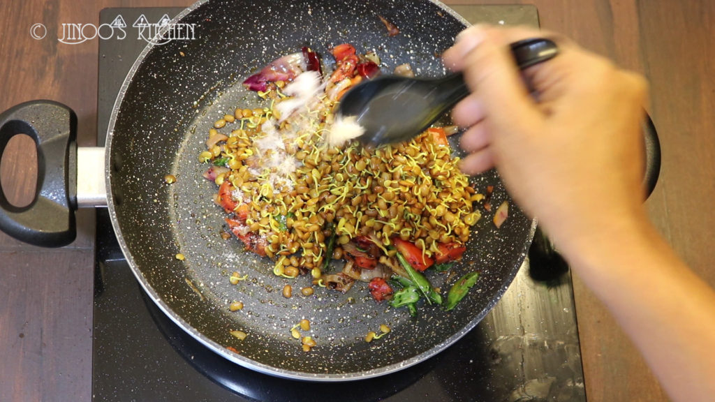 Sprouted horse gram stir fry