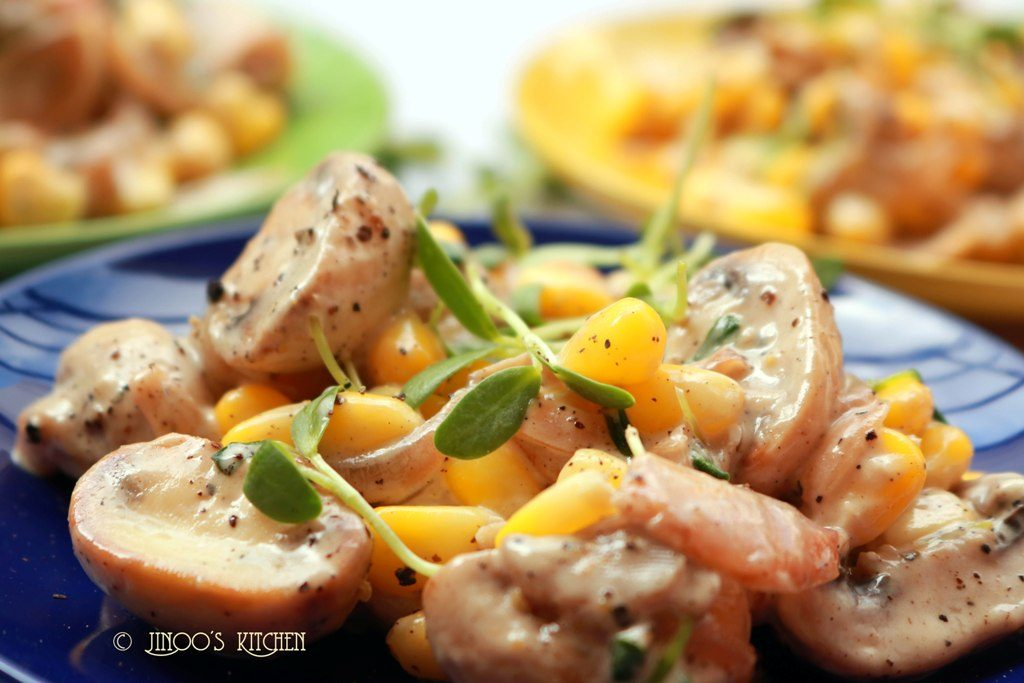 Mushroom Mayo salad with methi micro greens and sweetcorn