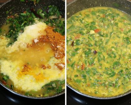 Dal palak for rice