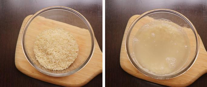 soak basmati. pressure cooker biryani recipe