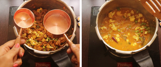 measure and add water. pressure cooker biryani recipe