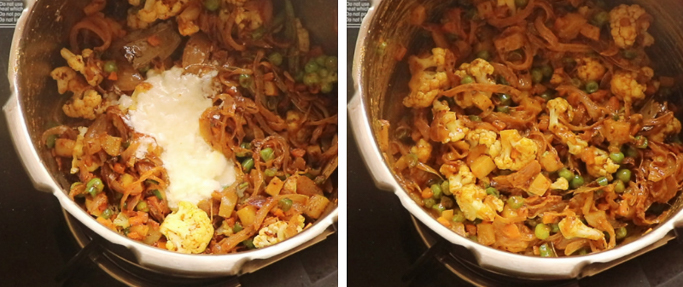 add curd . pressure cooker biryani recipe