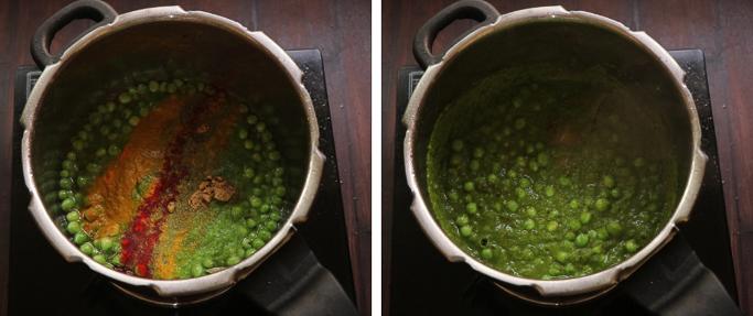 add spices Peas pulao recipe