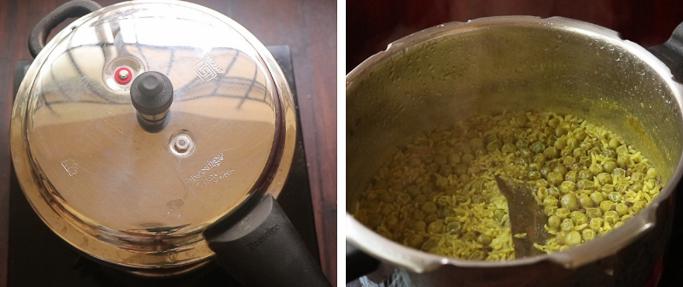 pressure cook Peas pulao recipe