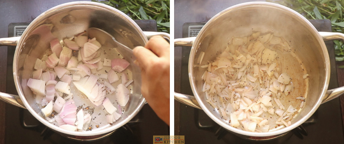 fry the onions ponnanganni keerai sambar