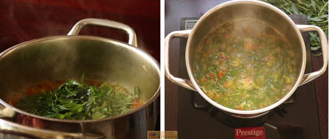 add spinach ponnanganni keerai sambar