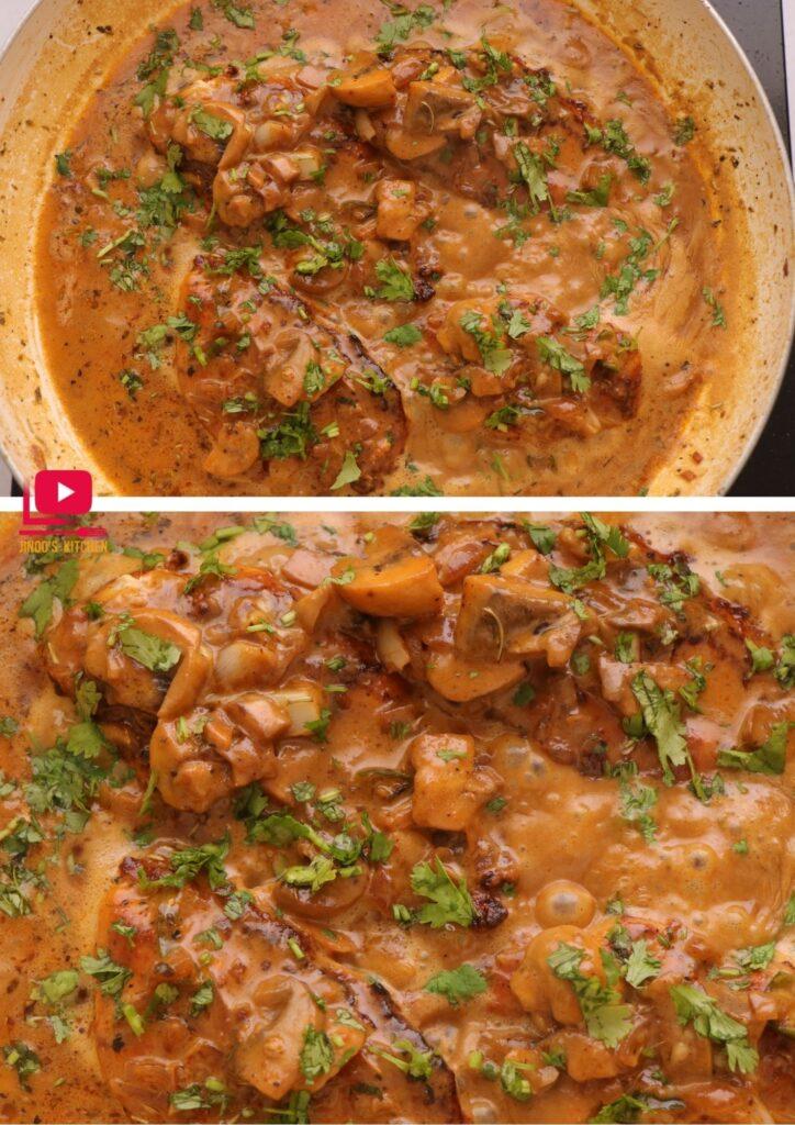 Creamy Garlic Mushroom Chicken Recipe | One Pan Chicken Recipe | chicken roast in mushroom sauce