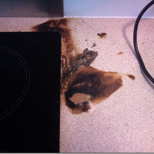 Worktop pan burn & heat blister repairs by Namco Refurbs