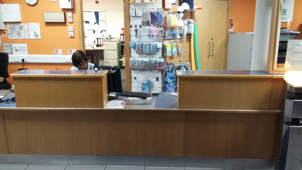 Reception counter console installation and alterations