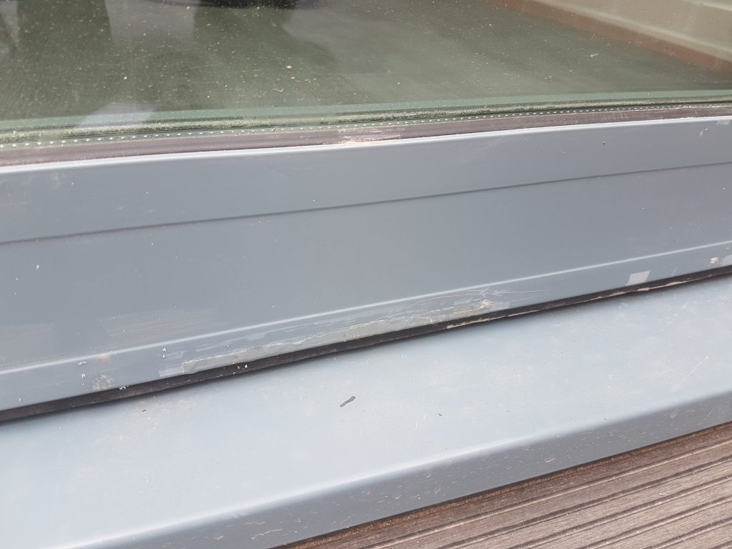 DAMAGED WINDOW FRAME SCRATCHED SCRATCHES DENT CHIP FADED PAINT REPAIR REFURB POWDER COATED WINDOW FRAME REPAIR BEFORE