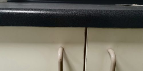 CHIPPED LAMINATE WORKTOP BULL NOSE DAMAGE REPAIR AFTER