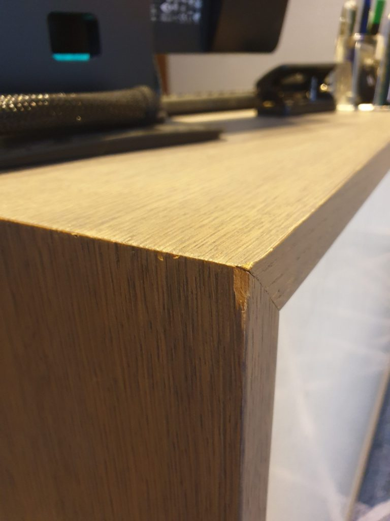 HOTEL RECEPTION COUNTER CHIP SCRATCH REPAIR BEFORE