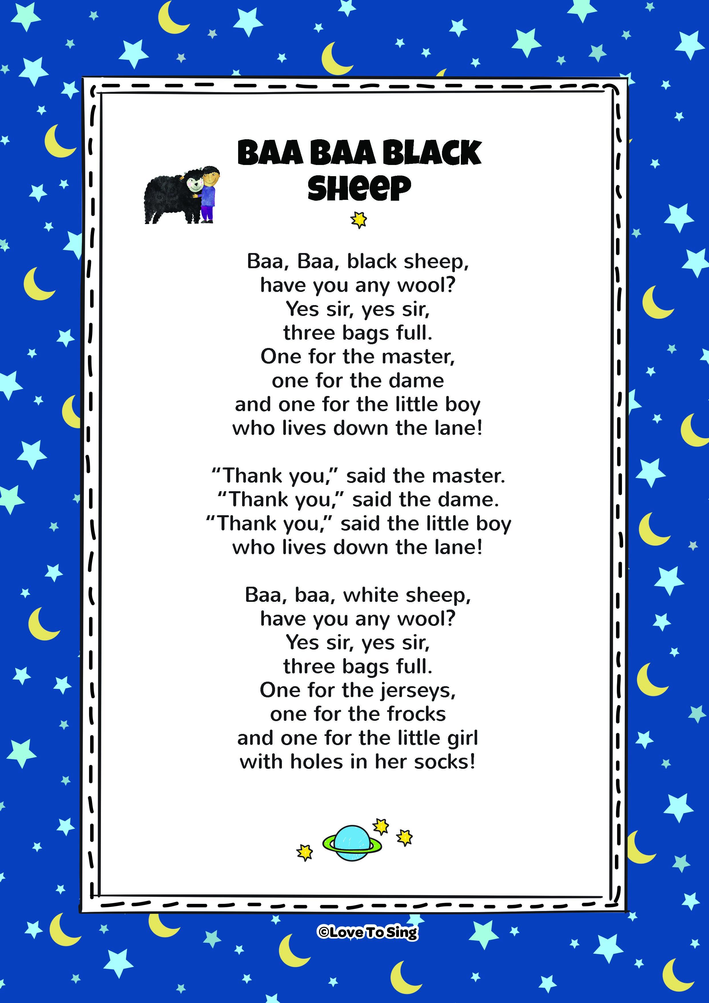 baa baa black sheep lyrics video free download