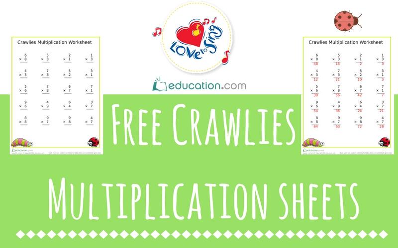 Free Crawlies Multiplication Sheets