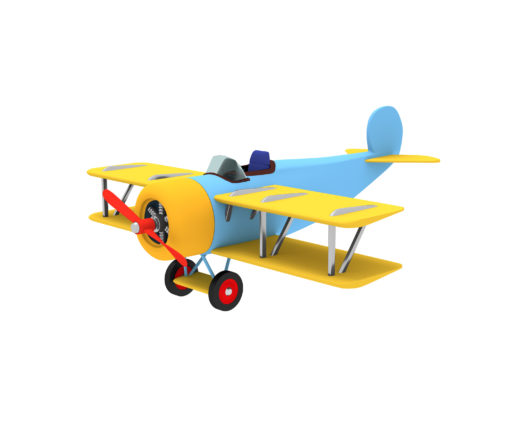 Vintage plane blue with yellow wings on a white background. Rend