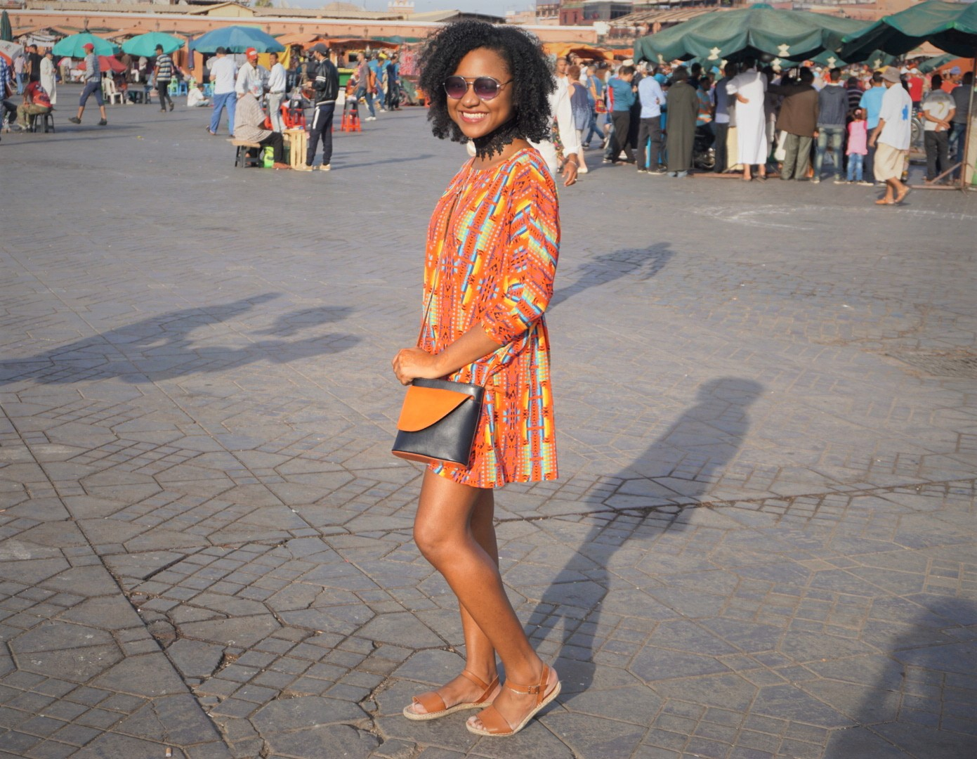 tribal print tunic outfit in morocco markets
