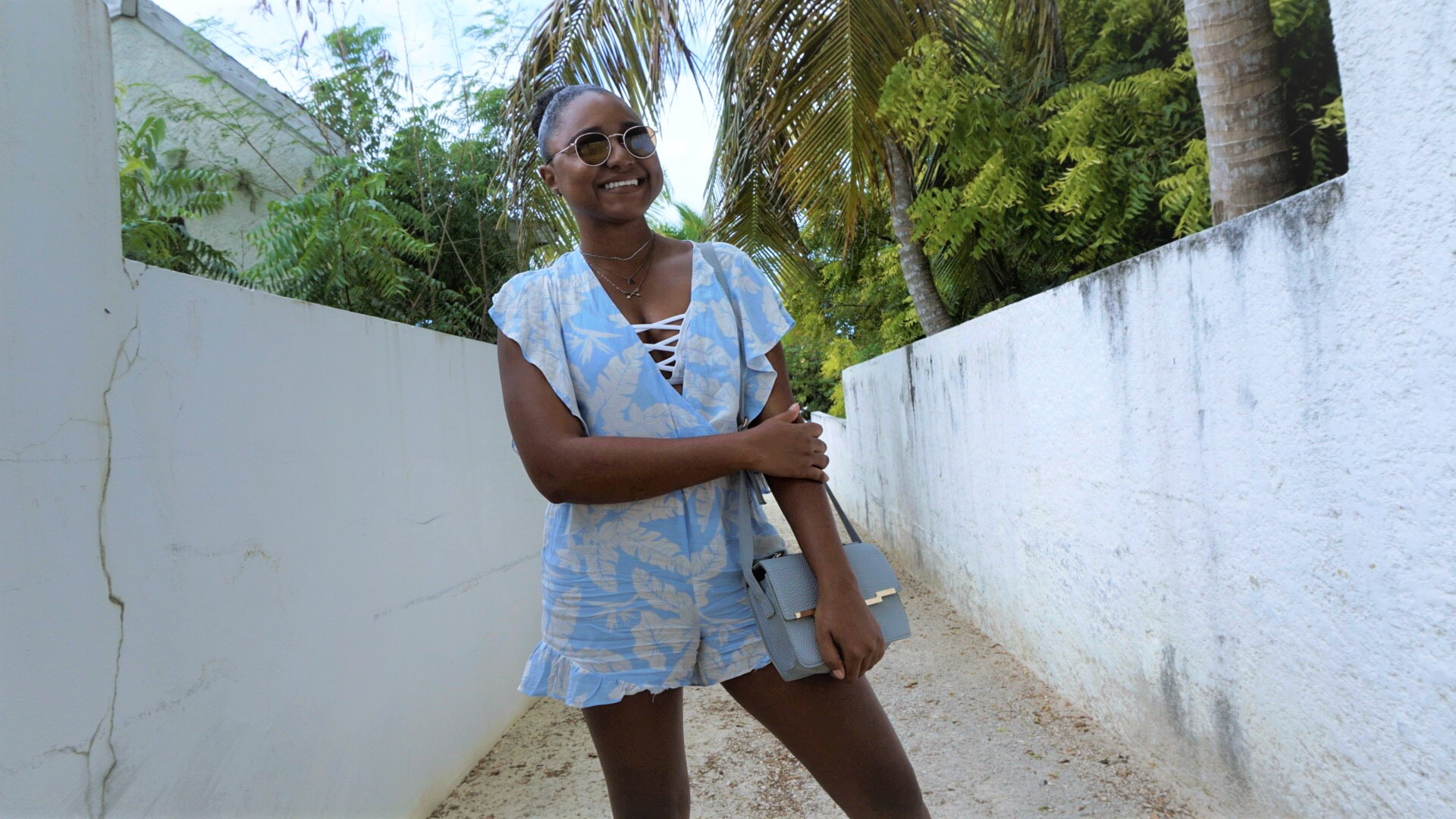 From Beach Chic to Street Chic in a sky blue romper