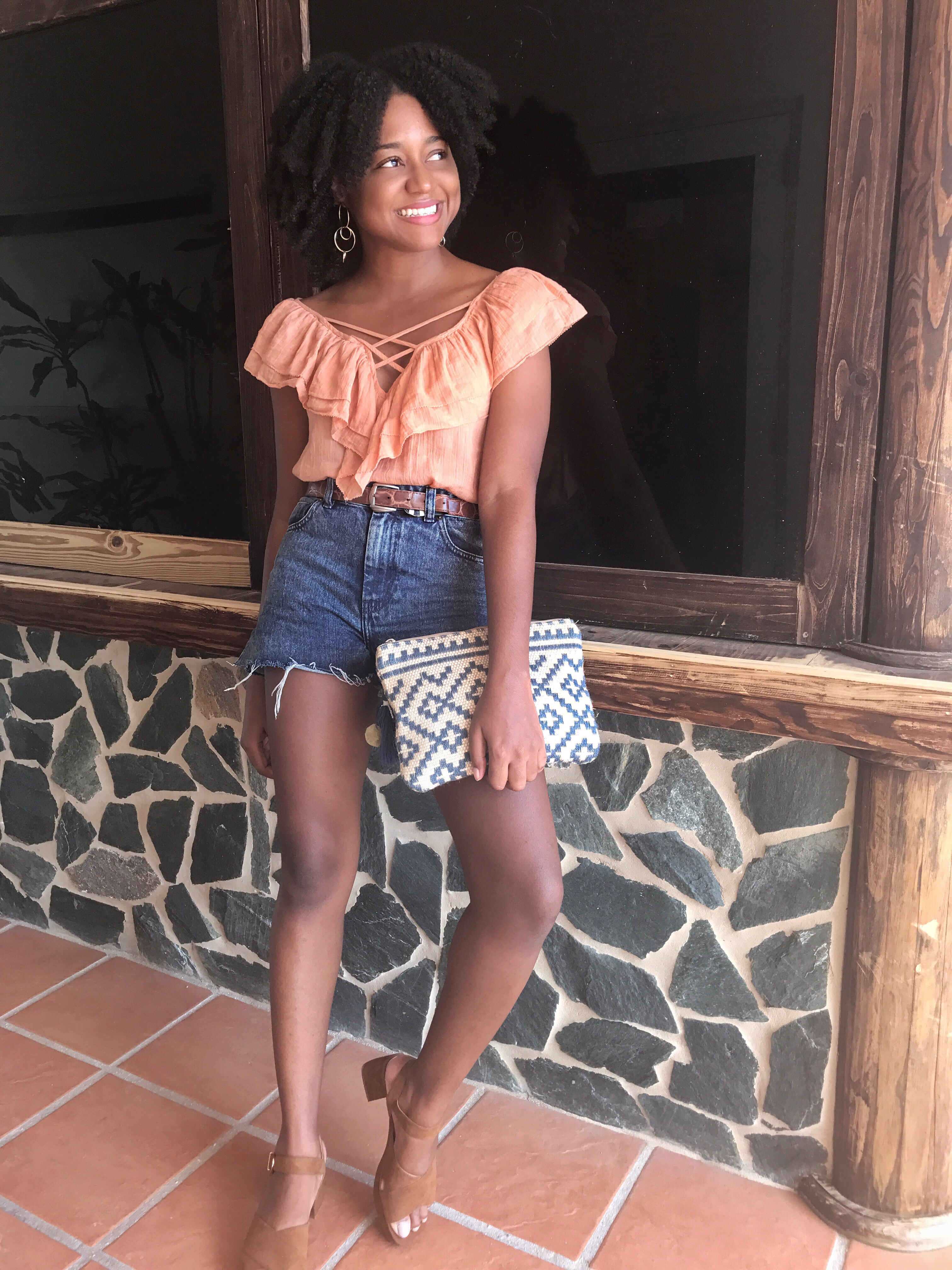 Ruffled Top, Denim Shorts, Caribbean Blogger, Flavours Restaurant, The Business of Chic