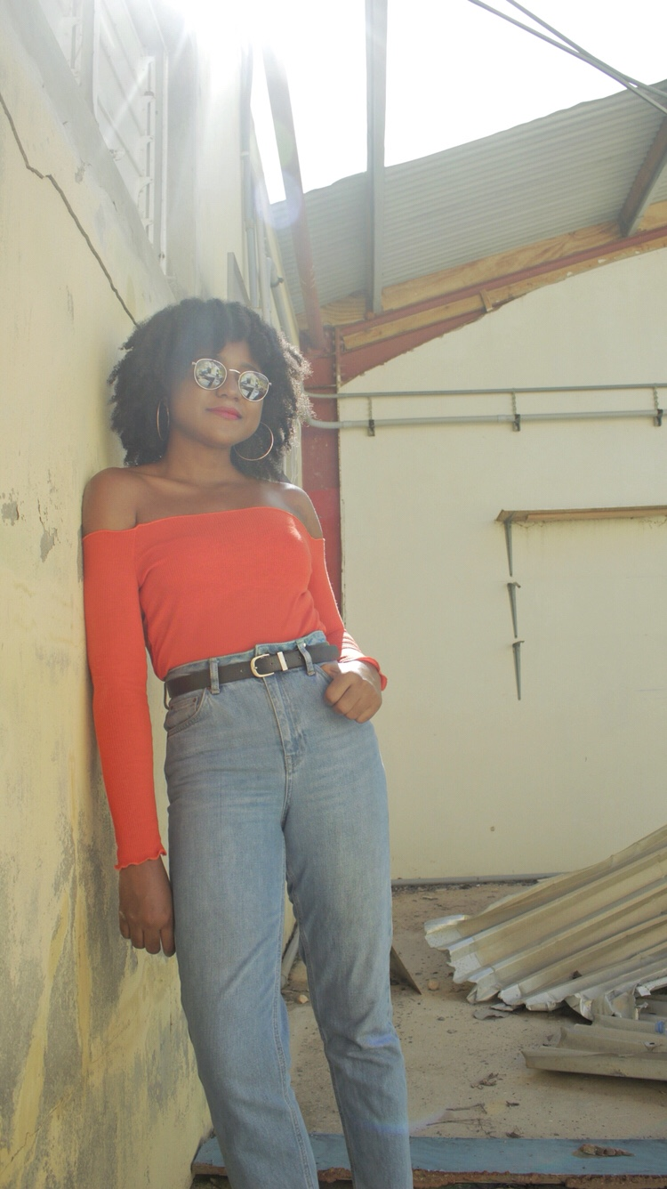 Orange Bardot Top, Mom Jeans, Natural Hair, Christmas Must Haves, The Business of Chic